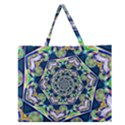 Power Spiral Polygon Blue Green White Zipper Large Tote Bag View1