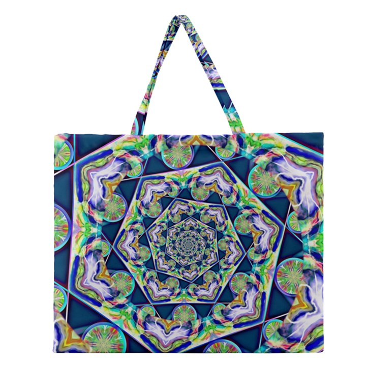 Power Spiral Polygon Blue Green White Zipper Large Tote Bag