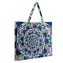 Power Spiral Polygon Blue Green White Zipper Large Tote Bag View2