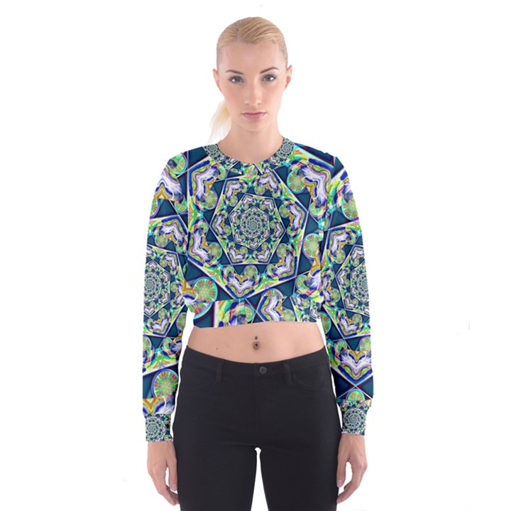 Power Spiral Polygon Blue Green White Women s Cropped Sweatshirt