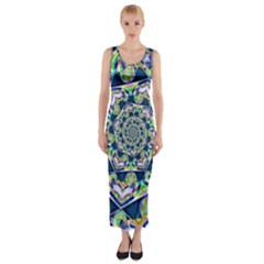 Power Spiral Polygon Blue Green White Fitted Maxi Dress