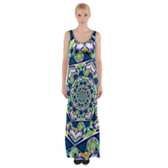 Power Spiral Polygon Blue Green White Maxi Thigh Split Dress