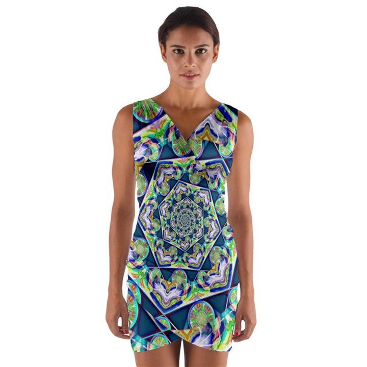 Power Spiral Polygon Blue Green White Wrap Front Bodycon Dress