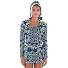 Power Spiral Polygon Blue Green White Women s Long Sleeve Hooded T Shirt