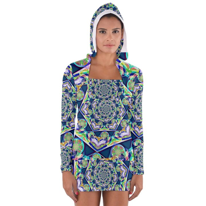 Power Spiral Polygon Blue Green White Women s Long Sleeve Hooded T-shirt