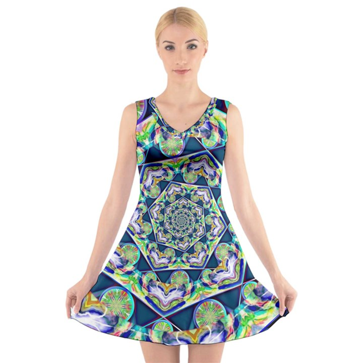Power Spiral Polygon Blue Green White V-Neck Sleeveless Skater Dress