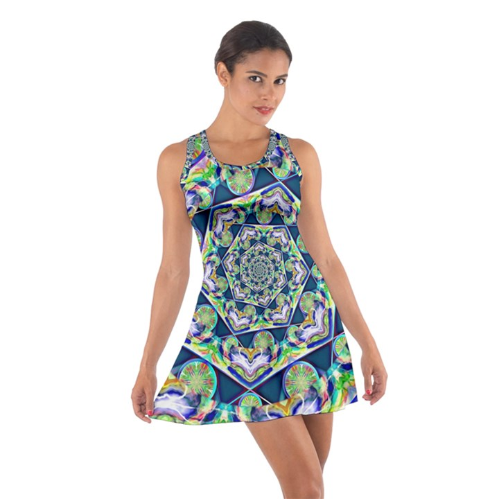 Power Spiral Polygon Blue Green White Cotton Racerback Dress