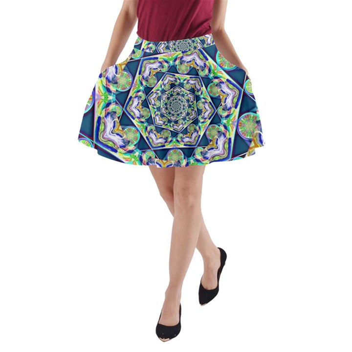 Power Spiral Polygon Blue Green White A-Line Pocket Skirt