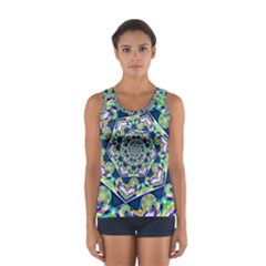 Power Spiral Polygon Blue Green White Women s Sport Tank Top