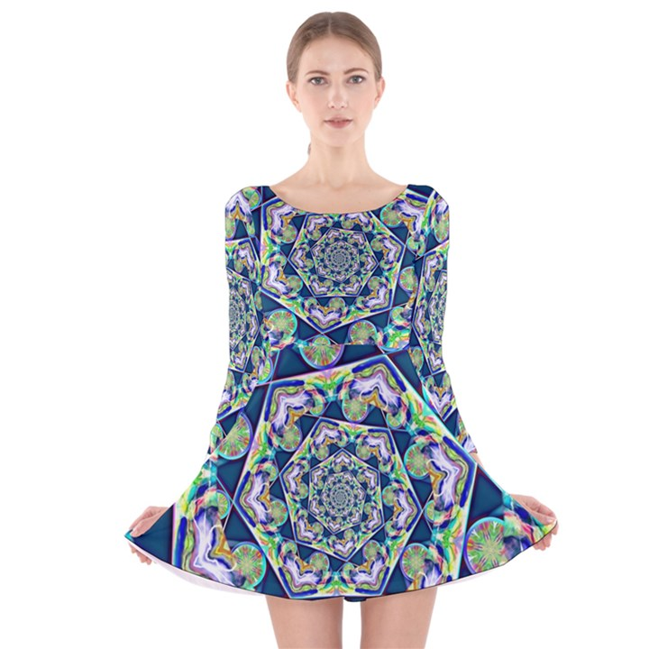 Power Spiral Polygon Blue Green White Long Sleeve Velvet Skater Dress