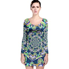 Power Spiral Polygon Blue Green White Long Sleeve Velvet Bodycon Dress