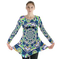 Power Spiral Polygon Blue Green White Long Sleeve Tunic