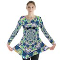 Power Spiral Polygon Blue Green White Long Sleeve Tunic  View1
