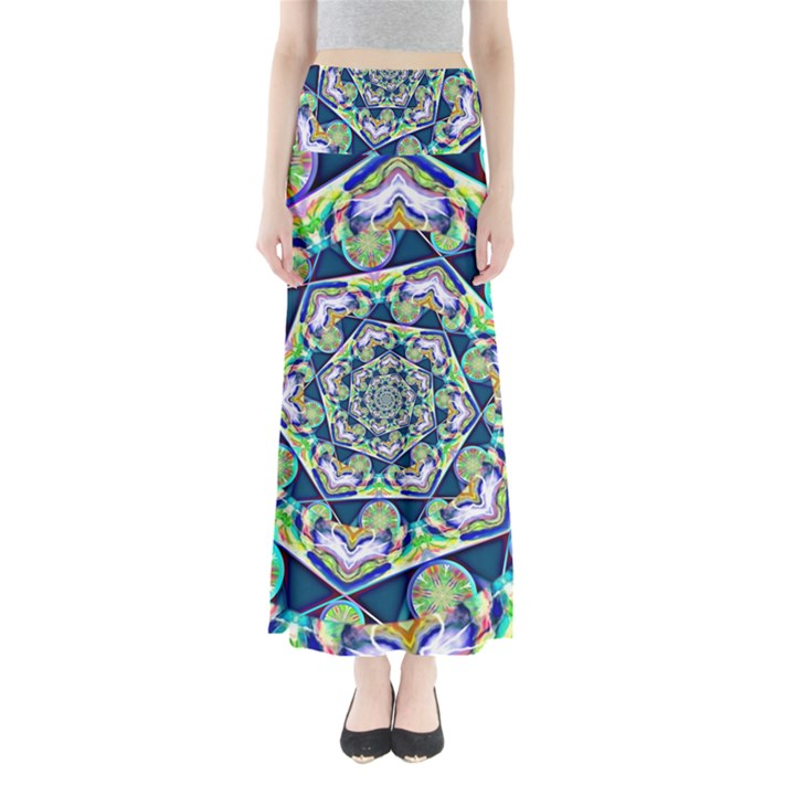 Power Spiral Polygon Blue Green White Maxi Skirts