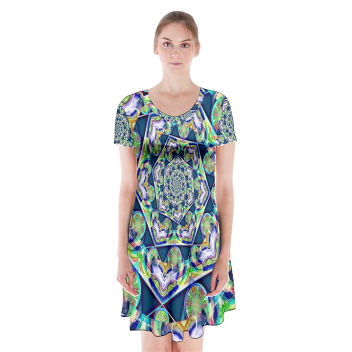 Power Spiral Polygon Blue Green White Short Sleeve V-neck Flare Dress