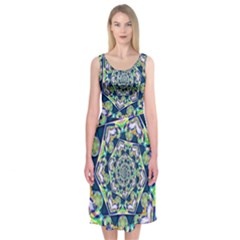 Power Spiral Polygon Blue Green White Midi Sleeveless Dress