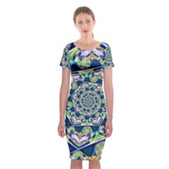 Power Spiral Polygon Blue Green White Classic Short Sleeve Midi Dress