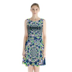 Power Spiral Polygon Blue Green White Sleeveless Chiffon Waist Tie Dress