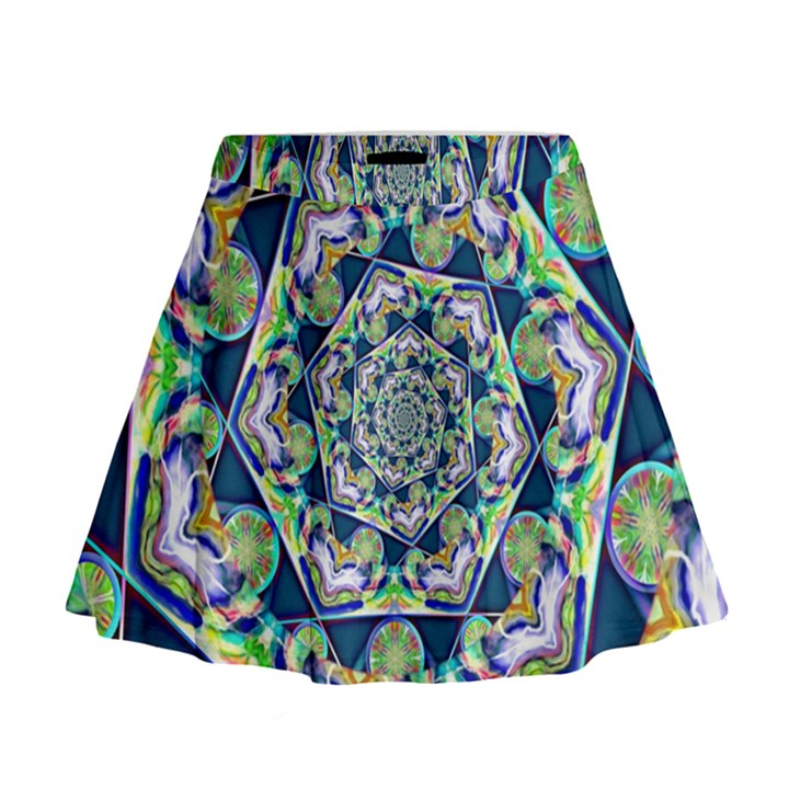 Power Spiral Polygon Blue Green White Mini Flare Skirt