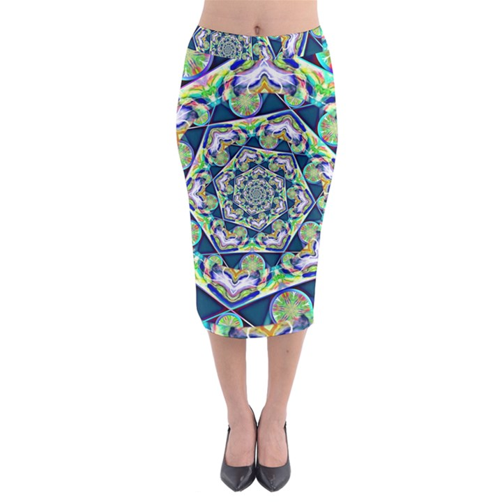 Power Spiral Polygon Blue Green White Midi Pencil Skirt