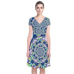 Power Spiral Polygon Blue Green White Short Sleeve Front Wrap Dress