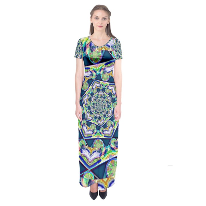 Power Spiral Polygon Blue Green White Short Sleeve Maxi Dress