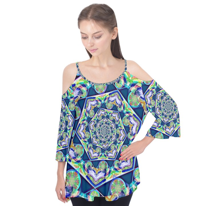 Power Spiral Polygon Blue Green White Flutter Tees