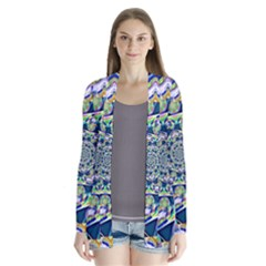 Power Spiral Polygon Blue Green White Drape Collar Cardigan