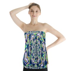 Power Spiral Polygon Blue Green White Strapless Top