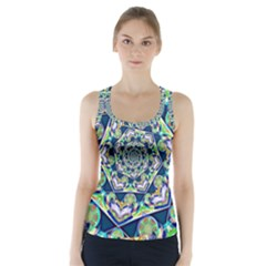 Power Spiral Polygon Blue Green White Racer Back Sports Top