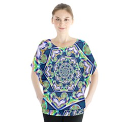 Power Spiral Polygon Blue Green White Blouse
