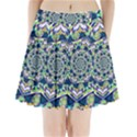 Power Spiral Polygon Blue Green White Pleated Mini Skirt View1