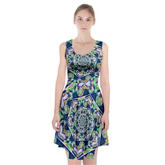 Power Spiral Polygon Blue Green White Racerback Midi Dress