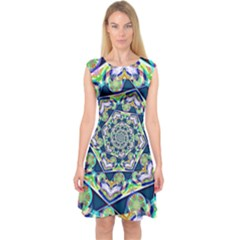 Power Spiral Polygon Blue Green White Capsleeve Midi Dress