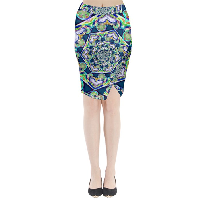 Power Spiral Polygon Blue Green White Midi Wrap Pencil Skirt