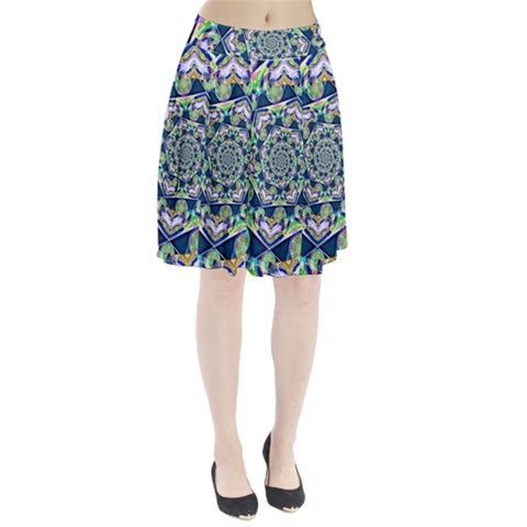 Power Spiral Polygon Blue Green White Pleated Skirt