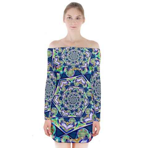 Power Spiral Polygon Blue Green White Long Sleeve Off Shoulder Dress