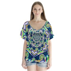Power Spiral Polygon Blue Green White Flutter Sleeve Top