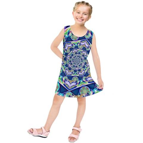 Power Spiral Polygon Blue Green White Kids  Tunic Dress