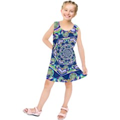 Power Spiral Polygon Blue Green White Kids  Tunic Dress