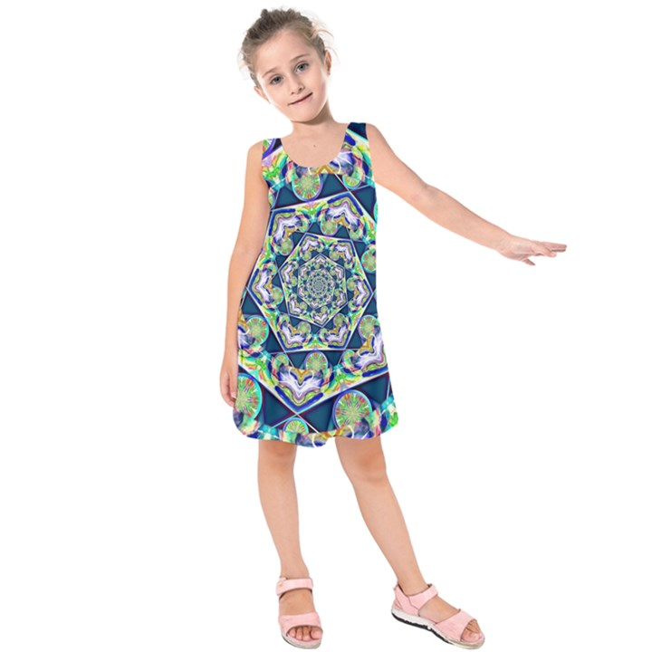 Power Spiral Polygon Blue Green White Kids  Sleeveless Dress