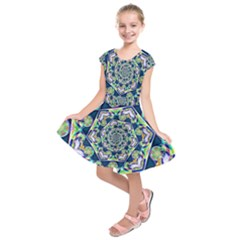 Power Spiral Polygon Blue Green White Kids  Short Sleeve Dress