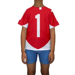 New Zealand State Highway 1 Kids  Short Sleeve Swimwear