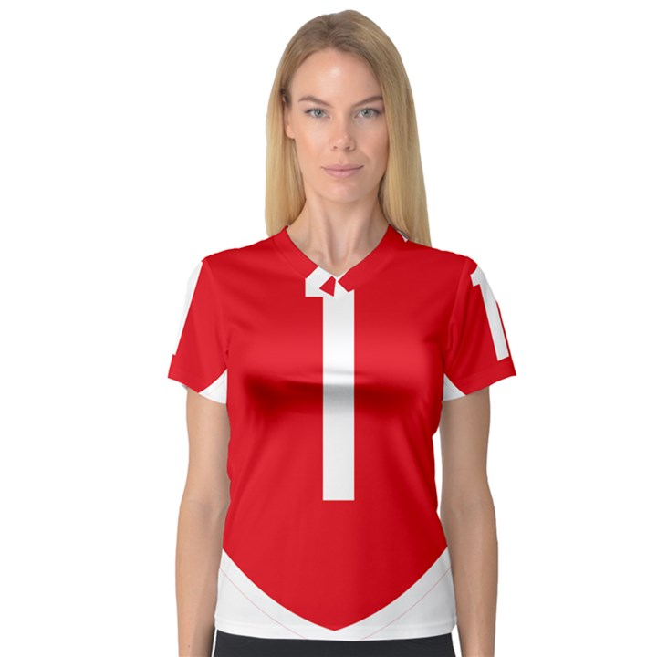 New Zealand State Highway 1 Women s V-Neck Sport Mesh Tee