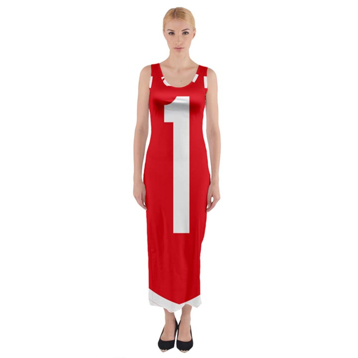 New Zealand State Highway 1 Fitted Maxi Dress