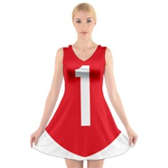 New Zealand State Highway 1 V-Neck Sleeveless Skater Dress