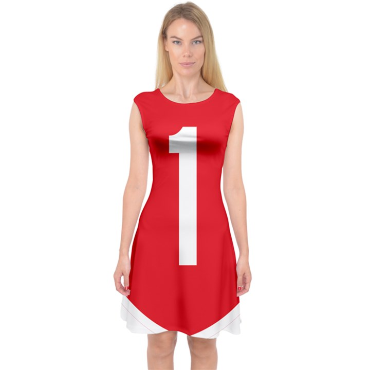 New Zealand State Highway 1 Capsleeve Midi Dress