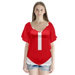 New Zealand State Highway 1 Flutter Sleeve Top