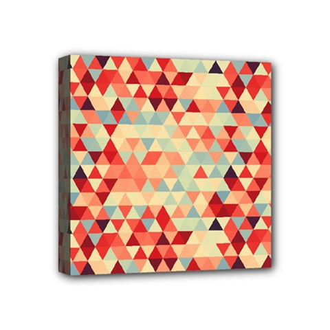 Modern Hipster Triangle Pattern Red Blue Beige Mini Canvas 4  x 4