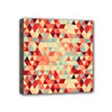 Modern Hipster Triangle Pattern Red Blue Beige Mini Canvas 4  x 4  View1
